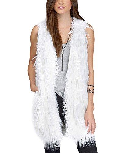 Damen Jacke Ärmellose Faux Pelz Warm Kunstfur Mantel Lang Felljacke Tops Weiß L