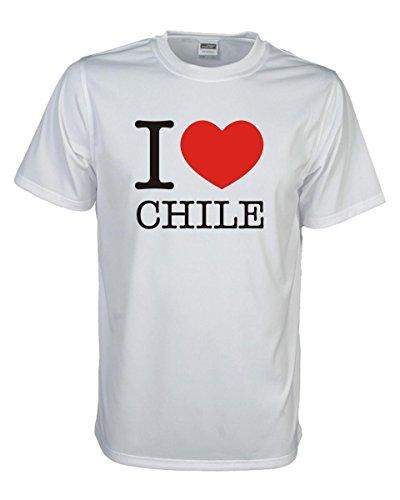 T-Shirt I love CHILE, bedrucktes Länder Fanshirt, Ich liebe .. Loveshirt Liebesbeweis für dein Heimatland, große Größen S-5XL (WMS11-14) Mehrfarbig