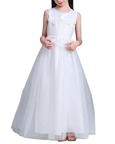 Mädchen Spitze Prinzessin Kleid Lang Abschlussballkleider Hochzeit Brautjungfern Brautkleider Weiß 140