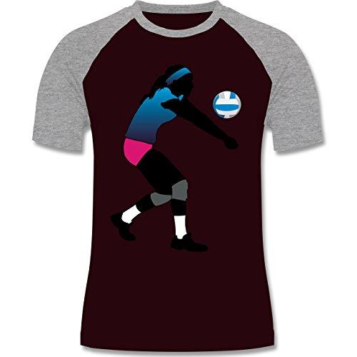 Volleyball - Volleyballspielerin Baggern - zweifarbiges Baseballshirt für Männer Burgundrot/Grau meliert