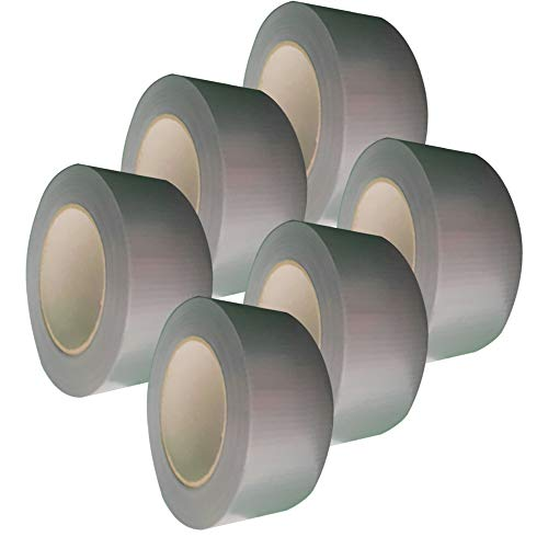 Spetan 6x Profi Gewebeband Panzerband Duct Tape Reparaturklebeband Panzertape 50 m x 50mm je Gewebeklebeband Steinband handreißbar Silber