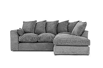 Porto Jumbo Cord Corner Sofa, Settee, Full Chenille Cord Fabric in Grey from Abakus Direct