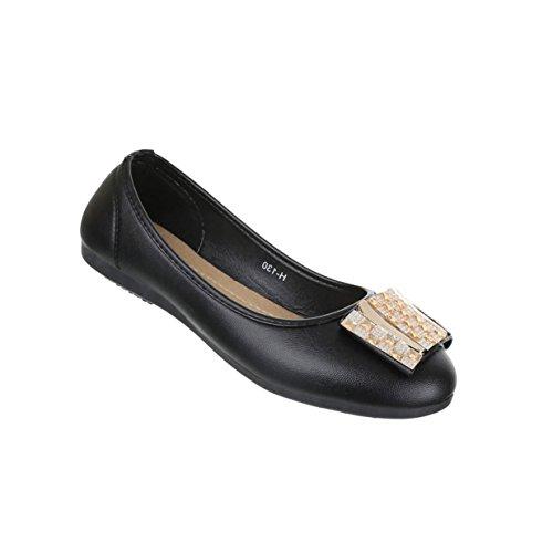 Damen Schuhe Ballerinas Strass Besetzte Pumps Schwarz