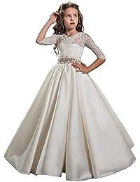 Auxico Satén La más nueva Princesa vestido de niña de las flores de vestido vestido de primera comunión Vestido de…