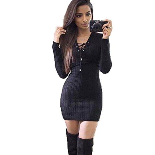 Damen Kleid ,LMMVP Frauen Langarm Strick Pullover Kleid (Black, S)