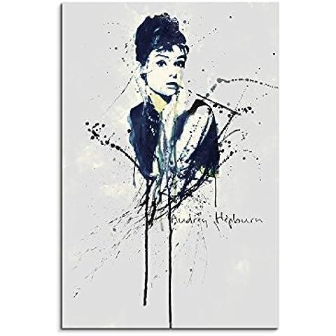 Paul Sinus Art de Audrey Hepburn _ 90x 60de SA–cuadro de lienzo, 90x 50x 3cm), multicolor
