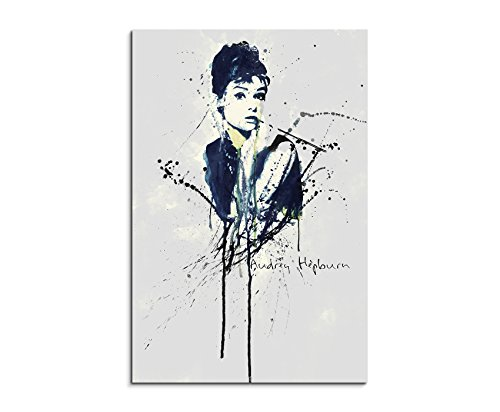 Audrey Hepburn 90x 60cm Keilrahmenbild Kunstbild Aquarell Art Wandbild auf Leinwand fertig gerahmt Original Paul Sinus Art Unikat