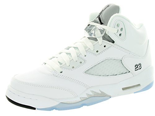 Nike Air Jordan 5 Retro Bg, Chaussures de Sport Garçon, Blanc, For Men Blanc / Noir / Argenté  (White / Black-Metallic Silver)