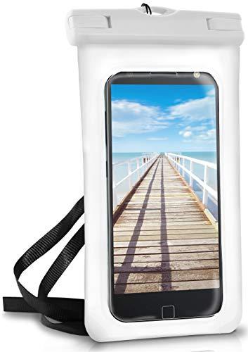 ONEFLOW® wasserdichte Handy-Hülle für Motorola & Lenovo   Touch- und Kamera-Fenster + Armband & Schlaufe zum Umhängen, Weiß (Pear-White)