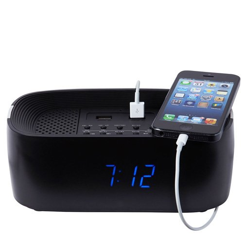 reless Playback Alarm Clock Radio Speaker System - Black ()