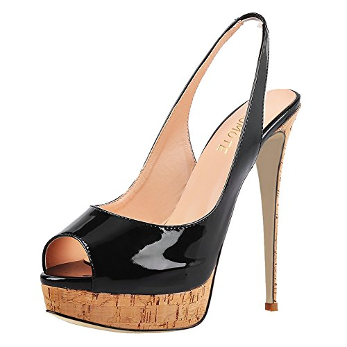 MERUMOTE Damen Slingbacks Peep Toe High Heels Schuhe Plateau Pumps Wood & Black 47EU (Patent Toe Peep Black)