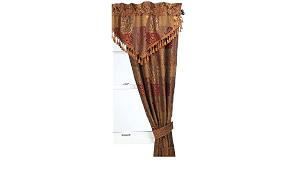 CROSCILL GALLERIA RED BEADED ASCOT VALANCE PAISLEY UMBER RED GOLD 40 X 21