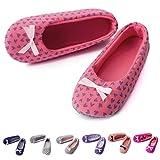 TWINS Fashion « Rio » schöne & süße Damen-Hausschuhe I Ballerinas I Pantoffeln I Slippers - Plüsch Baumwolle rutschfest - diverse Farben (36/37, Dunkel-Rosa)