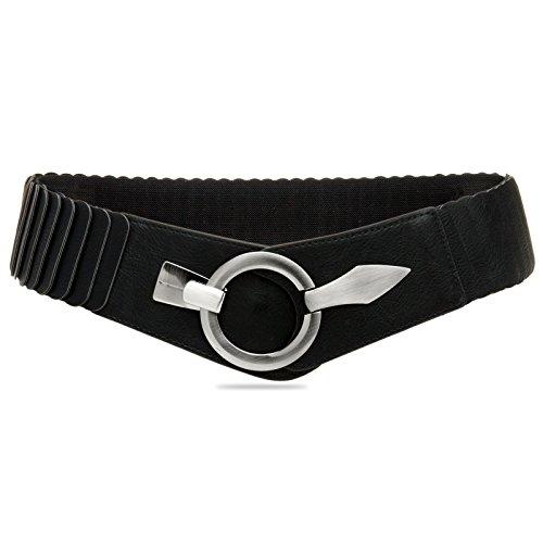 Caspar GU300 Damen elastischer breiter Stretch Taillengürtel, Farbe:schwarz, Gürtelgröße:80 [für Körperumfang 90-110 cm]