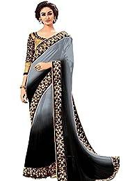 Vinayak Textiles Georgette Saree With Blouse Piece (PC-21Black_Black_Free Size)