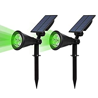 (2 Pack&250 Lumens)T-SUN LED Solar Spotlight, 4 Led Green Waterproof Outdoor Security Garden Landscape Lamps, 180°angle Adjustable, Auto-on /Auto-off for Tree, Yard ,Lawn , Patio Etc.(Green)