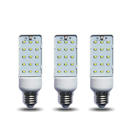 5W Lámpara LED Movimiento Sonido Sensor de luz Control Enchufe horizontal Luz de sensor de movimiento Lámpara giratoria a prueba de agua de 270 ° Impermeable para pasillo, Garaje, 3 PAQUETES