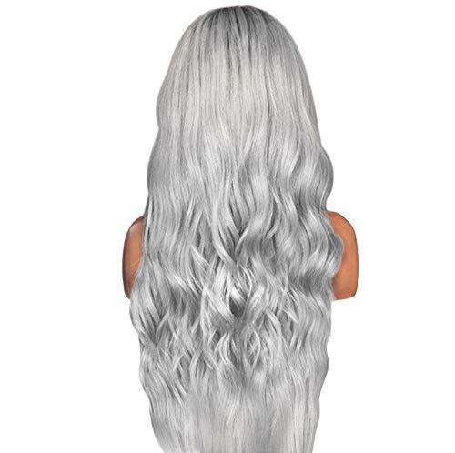 Gongdi extension clip capelli veri, parrucca di pizzo extension capelli, parrucca da donna europea e americana, sfumatura nera e grigia, grandi capelli ricci lunghi ondulati, parrucca