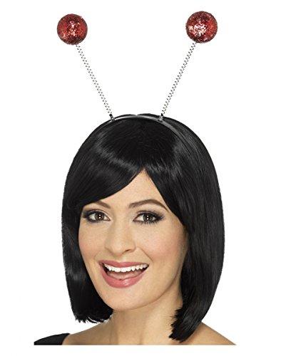 Roter Glitzer Bommel Haarreif für Marienkäfer & Weihnachts (Halloween Bommel Kostüm Kopf)