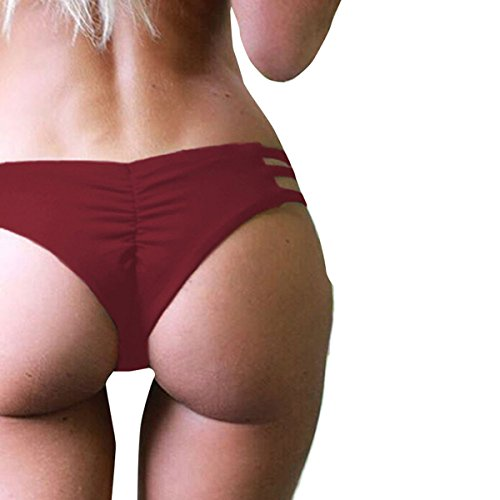 Huihong Damen Tanga Bikinihose String Rüschen Brazilian Bikini Slip Schnüren Höschen (Rot, S) (Side-tie Bikini-badeanzug Thong)