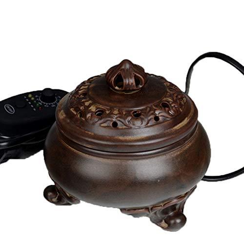 electric incense burner Weihrauch-Brenner - Timing-Temperaturkontrolle Elektronischer Keramik-Diffusor für ätherisches Öl - Agarwood Räuchergefäß für Zuhause/Büro / SPA -