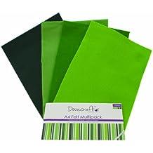 Dovecraft Essentials - A4 Premium Farbiger Bastelfilz - Grün (8er Packung, 4 Designs)