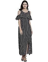 Athens black striped frilled dress