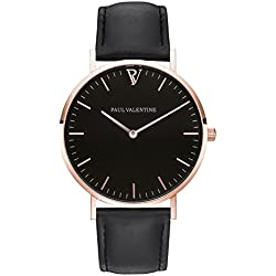 Paul Valentine Bracelet Watch with Pearl Rose Gold Black Ladies Watch with Elegant and timeless design with Grey Real Leather Bracelet