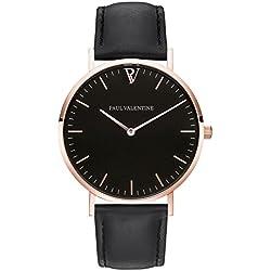 Paul Valentine Armbanduhr | Pearl Rose Gold Schwarz | Damen Uhr mit elegantem & zeitlosen Design und grauem Echtleder Armband