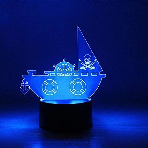 LLXPDZ 3D Nachtlicht Mode Piratenschiff Kinder Led Schlafzimmer Fütterung Tischlampe Baby Schlaf Licht