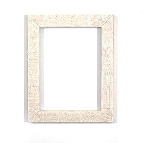 Shabby Chic Rustic/ Wood Grain Picture /Photo frame - With an MDF backing board - Ready to hang or stand - With a High Clarity Styrene Shatterproof Perspex Sheet-White 12