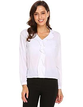 Meaneor Mujer Camiseta Manga Larga Cuello-V Gasa Camisa Casual Fiesta Blusa Elegante