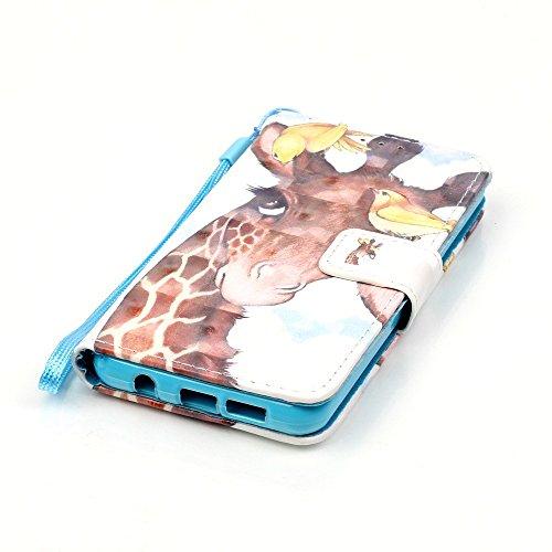 Qiaogle Téléphone Coque - PU Cuir rabat Wallet Housse Case pour Apple iPhone 6 Plus / iPhone 6S Plus (5.5 Pouce) - YB14 / Paris Tour YB20 / Mignon prune girafe + Oiseaux