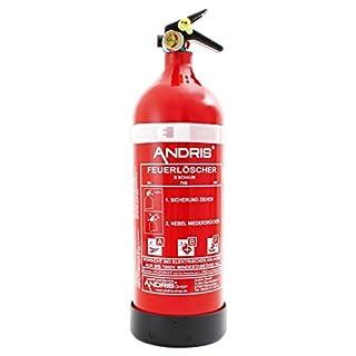 Feuerlöscher 2L ABF Fettbrand Schaum-Löscher mit Mannometer DIN EN3 Orig. ANDRIS® inkl. Prüfnachweis mit Jahresmarke + ISO Symbolschild