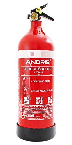 Feuerlöscher 2L ABF Fettbrand Schaum-Löscher mit Mannometer Din EN3 ORIG. Andris inkl. Prüfnachweis mit Jahresmarke + ISO Symbolschild