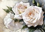Fototapete Rosen Vintage Stil weisse Rose Knospen Gemalt Beton Wand Blumen XL 350 x 245 cm - 7 Teile Vlies Tapete Wandtapete - Moderne Vliestapete - Wandbilder - Design Wanddeko - Wand Dekoration