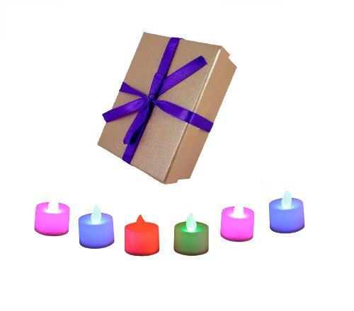 PK Green 6 Velas con LED de color cambiante, en una caja de regalo rosa