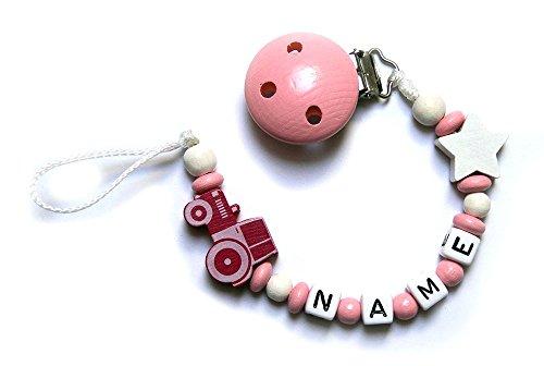 Baby Schnullerkette mit Perlen aus Holz und Wunschname. Rosa mit Traktor und Sternchen (Rosa Traktor Für Mädchen)