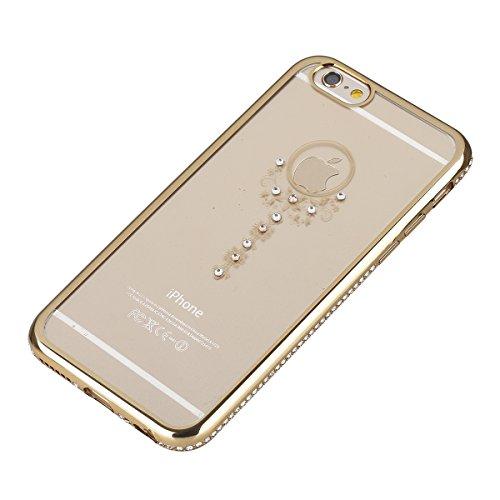 Ukayfe iPhone 6/6S plus 5.5 Copertura, Moda Confine di Placcatura Design di Bling Custodia Bumper Ultra Slim Morbido Soft TPU Gel Silicone Elegante Trasparente Flessibile Antiurto Cassa Protettivo Ski oro&chiave