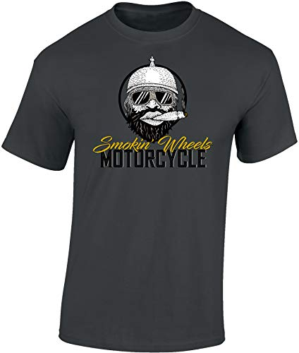 Maglietta: Smokin' Wheels - Moto - Idea regalo per motociclista - Biker T-Shirt - Maglia uomo uomini - Motocicletta - Vintage 420 - Libertà - Nera - Chopper - Bike - USA - Hipster - Fumare Pipa (L)
