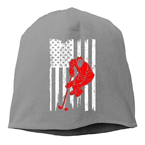 Xukmefat Men and Women Hockey Player Sports USA Flag Warm Stretchy Daily Beanie Hat Skull Cap Outdoor Winter