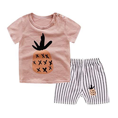 Sommer Baby Schlafanzug Baumwolle Jungen Zweiteiler Pyjama Kurz Tshirt und Shorts Set Kurzarm Cartoon Tierdruck Sleepwear Pajama Unisex - 2 Stück Kurzarm-pyjama