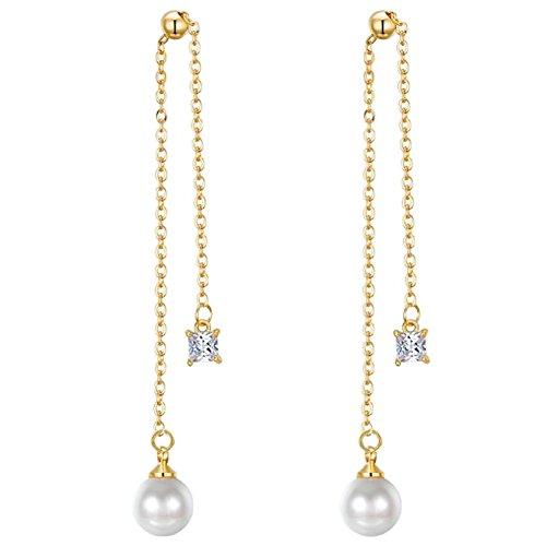 Quadratischer Ohrringe Gold-diamant (iTemer Ohrringe Quadratische Diamant Perlenohrringe Quasten Ohrstecker Golden)