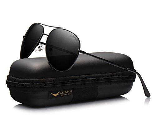 Luenx uomo occhiali da sole aviatore polarizzate di guida con il caso - protezione uv 400 nero telaio nero lenti 60 mm