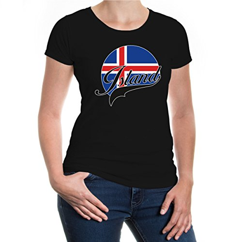 buXsbaum® Girlie T-Shirt Island-Logo Black-z-direct