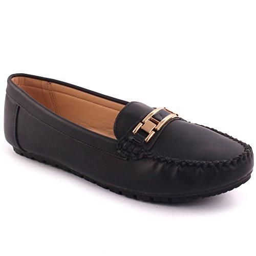 Unze Nouveau Les Femmes Bragg Chers Télévision Conduite École Boucle Office Carnival Marche Décontracté Mocassin Slip on Chaussures Pompes Size UK 3-8