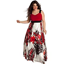 Elecenty Plus Size Donne Sexy Scollo a V Floreale Maxi Evening Party Boho  Beach Dress Abito d1d4f67e83f