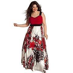 Idea Regalo - Elecenty Plus Size Donne Sexy Scollo a V Floreale Maxi Evening Party Boho Beach Dress Abito Stampato da Donna di Grandi Dimensioni V-collo Misto Cotone Chiffon Mezza Manica (Size:XL, Rosso)
