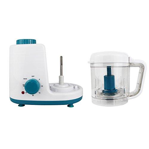 Leogreen - Baby-Küchenmaschine, Mixer für Babynahrung, Weiß/Blau, Funktion: 2 in 1 Dampfgarer und Mixer, Spannung: 220-240 V - 3