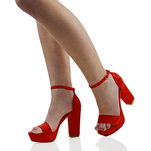 ESSEX GLAM Scarpa Donna Finto Scamosciato Sandalo Plateau Tacco a Blocco Peep Toe Cinturino alla Caviglia Festa Rosso Finto Scamosciato